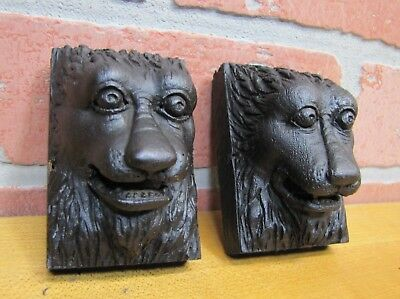 Antique Carved Wooden Monsters Devil Dogs Beasts Architectural Hardware Elements