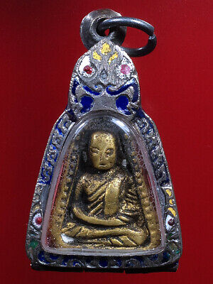 Set 5 Thai Amulet empty Frame Case Stainless Design LP Ngern Statue strong #31