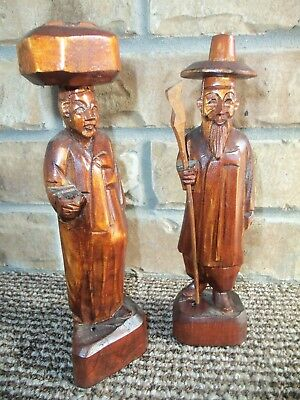 Two Carved Asian Oriental Wooden Figurines