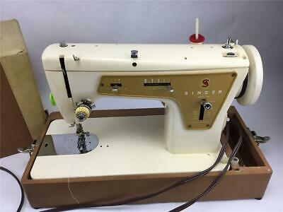 Singer Sewing Machine Model 237 with Case, Working Light and Manual Tested Vtg
