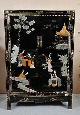 Chinese black lacquer cabinet with jade and stone relief