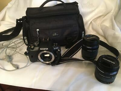 Olympus EVOLT E-410 10MP Digital SLR Camera w Zuiko 14-42mm & 40-150mm Lens &Bag
