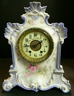 Antique Hand Painted Light Blue Gilbert Porcelain Mantle Clock w/ Pendulum Excel