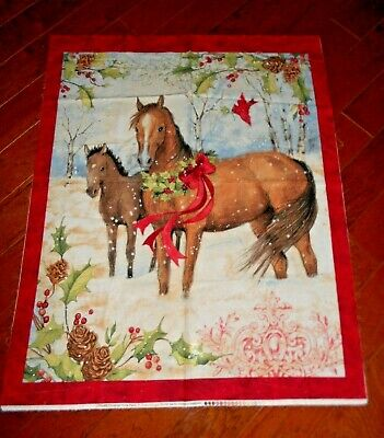 Christmas Two Horses Quilt Panel by Susan Winget btp