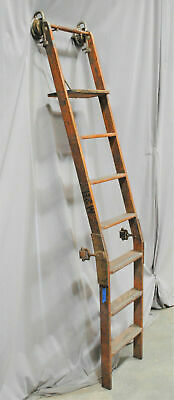 """RARE 90"""" Rolling Library Ladder, Angled, SOLID OAK, Track Hardware, NC SALVAGE"""