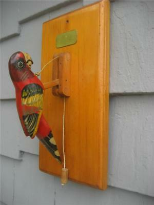 """Vtg Wooden Parrot Door Knocker Pull Cord Hand Made Colorful Painted 12"""" x 6"""""""