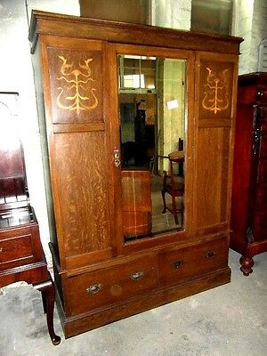 Edwardian Inlaid Oak  Art Nouveau Mirrored Door Wardrobe