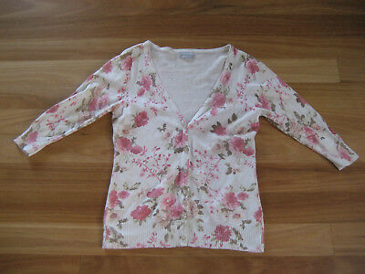 Ladies Cute White Floral 3/4  Sleeve Knit Top/ Cardigan By Jeans West - Size Xs