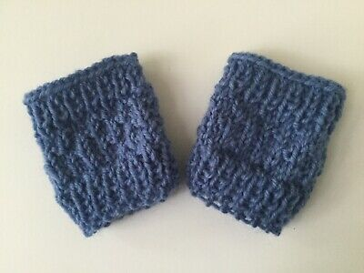 Baby mittens Fingerless Blue Boy/ Girl mitts Wool 8ply Handknit New