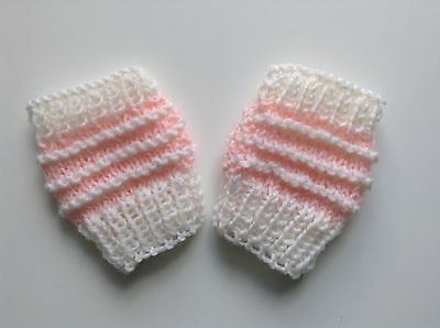 Baby mittens Fingerless pale pink/ white Mitts Girl Wool Handknitted New