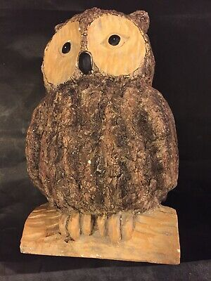 """Wood Owl Wooden Hand Carved Statue Figurine 10"""" x 6"""" Very Good Condition"""