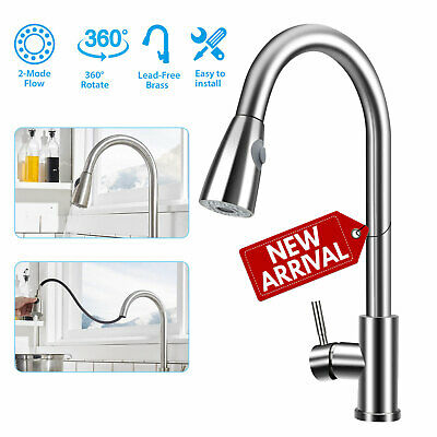 Flexible Kitchen Sink Faucet Pull Out Swivel Spout Mixer Tap Single Hole + Cover