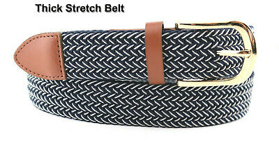 """🕐7008G  Leather Fabric Elastic Black Woven Golf Stretch Belts 1-3/8"""" Wide"""