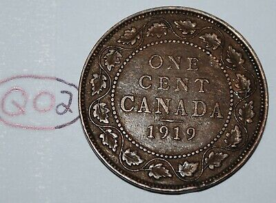 Canada 1919 1 Large cent Canadian one George V Penny coin Lot #Q02