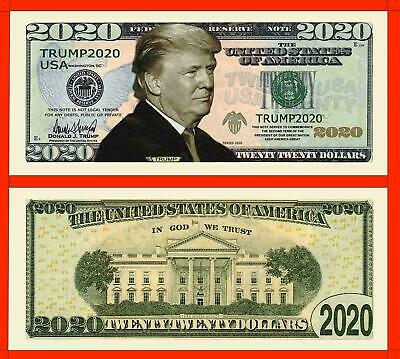 Two Donald Trump 2020 Re-Election Presidential Novelty Dollar Money Bills
