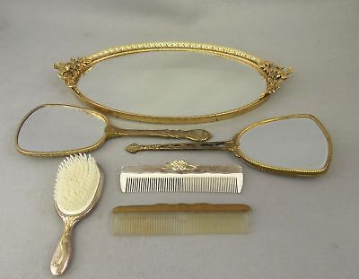 Vanity Set  Brush Comb Mirrors Tray  Vintage and Antique Silver Gold Six