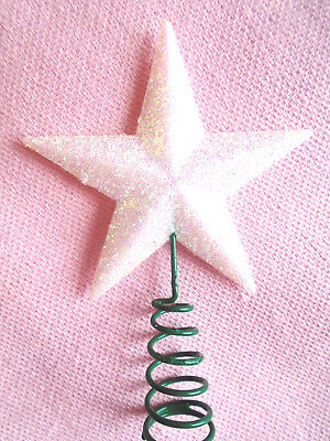 "2"" Mini White Crystal Glitter Star Topper Top Small Christmas Feather Tree"