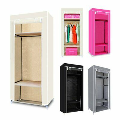 Single Canvas Wardrobe Bedroom Hanging Storage Furniture 3 Shelves Wardrobes