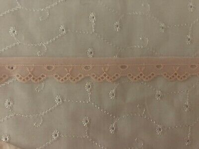 Pale Pink Broderie Anglaise Lace Trim. 18mm X 5 Metres