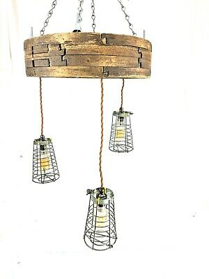Charming Rustic Chandelier French Pull Wheel Llight - PAT tested - 3 Lights