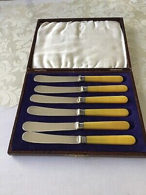 Vintage Boxed Set Epns Knives Excellent Box Display Antique Collectable Bread