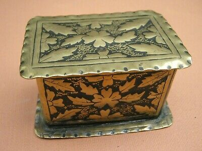 Antique Arts & Crafts Brass Snuff Box - Hand Made Leaf & Flower Pattern