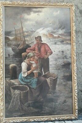 E. LACROIX 19. Century French Painting : Ocean Waves Sea Seascape Family Fishery