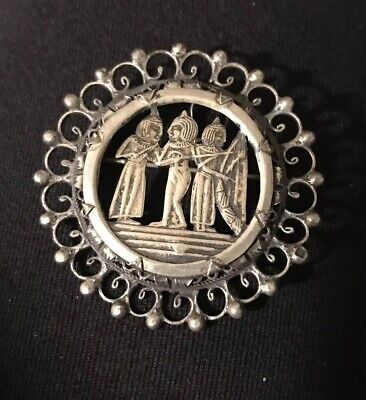 Antique Egyptian Revival Silver Pin