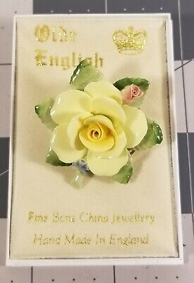 Old English Fine Bone China Jewellery Rose Brooch ~ Hand Made in England ~