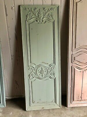 Antique French Carved Door Shabby Chic Painted Mint Green Carved Wall Panel