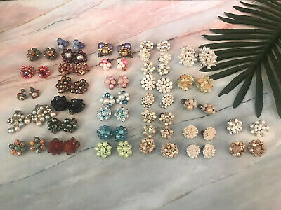 Vintage 34 Pair LOT Clip On Earrings Cluster Costume Jewelry Colorful 50s 60s
