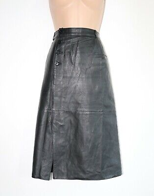 "Women's Vintage High Waist Straight Black 100% Leather Skirt Size W27"" UK8"