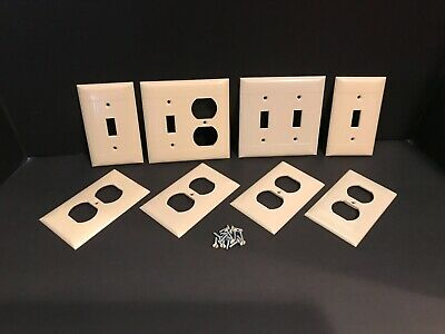 Vintage Sierra Electric Ivory Ribbed Bakelite Switch Covers w/ Screws - Lot of 8
