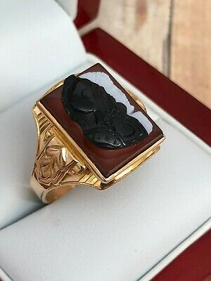 Antique Art Deco Mens Sz 10 10K Double Face Roman Soldier Intaglio Agate RING 6g