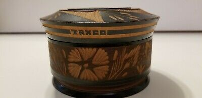 "Vintage Taxco Hand Carved Turned Covered Round Wooden Lidded Jewelry Box 5"" X 3"""