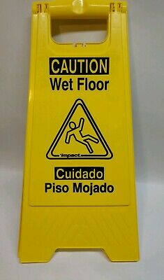 Yellow Caution Wet Floor Sign 2-Sided Bilingual Warning Accident Prevention