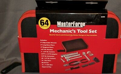 Master Forge 64pc Mechanics Tool Set with Tool Case Perfect for All Needs