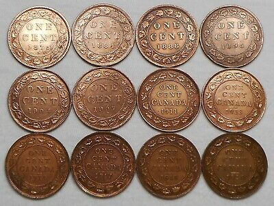 Lot Of 12 Canada Large Cents - 1876 H, 1884, 1888, Etc. - Cleaned