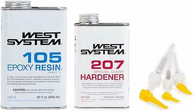 West System 105 Epoxy Resin (1 Qt) W/207 Special Clear Epoxy Hardener (.66 Pt) +