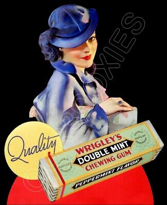 1930's Wrigley's Double Mint Die Cut Store Counter Standup Sign