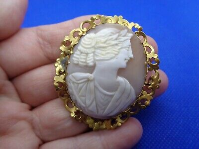 Large Antique Victorian Pinchbeck Carved Shell Cameo Brooch Of Calliope