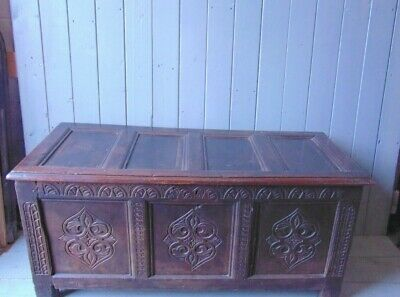 Antique Rustic Hand Carved Oak Coffer Chest Blanket Box Storage