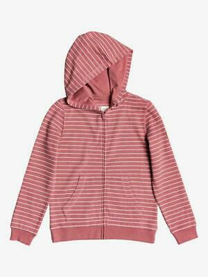 ROXY - Girls Zipped Hoodie - Striped Pink White - Surf - Ages 4-14