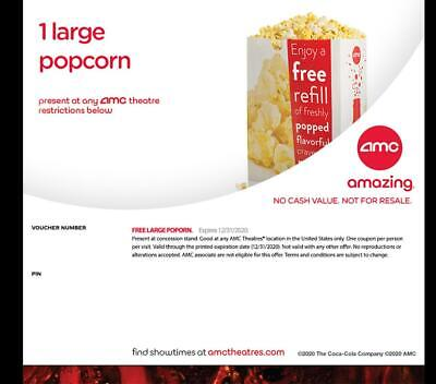 AMC Theaters Qty. 1 Large Popcorn, Expires 12/31/2020 - INSTANT DELIVERY