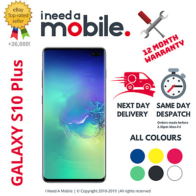 Samsung Galaxy S10+ Plus 128GB 512GB 1TB Unlocked/Locked Black White Blue Green