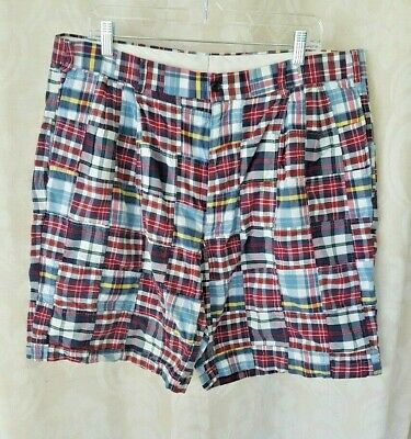 EUC~JoS A Bank~Mens 38R~Madras Plaid Patchwork Shorts~Cotton~Red White Blues