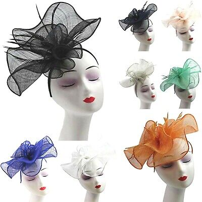Large Sinamay Fascinator Hat Wedding Day Races Feather Hair Band Flower Headband