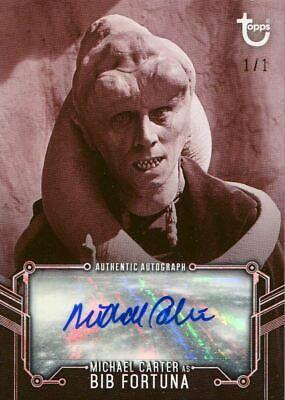 Star Wars RotJ Black & White Red [1/1] Autograph Card M Carter as Bib Fortuna