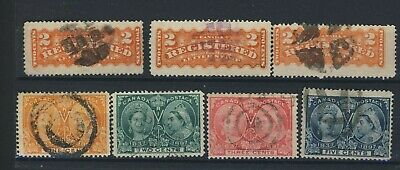 7x Canada Victoria Jubilee & Registration Fancy Cancel Stamps Guide value= $65.+