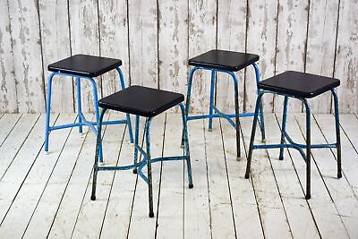 Set of 4 Vintage Industrial Cafe Bar Kitchen School Lab Stools